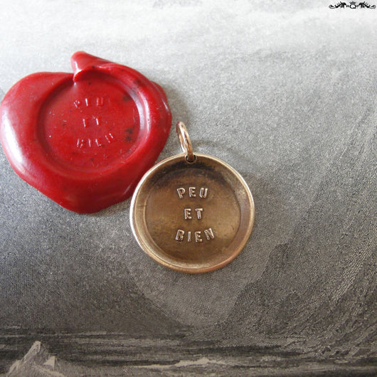 Talk Less Say More Wax Seal Charm - antique wax seal charm jewelry French Articulate Well Spoken proverb pendant
