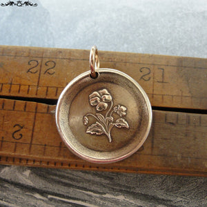 "Pansy Wax Seal Charm - antique wax seal jewelry pendant - Language of Flowers - Heart's-Ease ""In My Thoughts"" - RQP Studio"