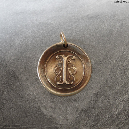 Wax Seal Charm Initial I - wax seal jewelry pendant alphabet charms Letter I - RQP Studio