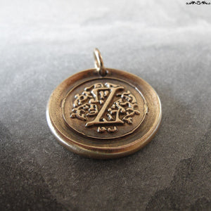 Wax Seal Charm Initial Z - wax seal jewelry pendant alphabet charms Letter Z - RQP Studio