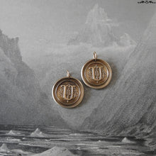 Load image into Gallery viewer, Wax Seal Charm Initial U - wax seal jewelry pendant alphabet charms Letter U - RQP Studio