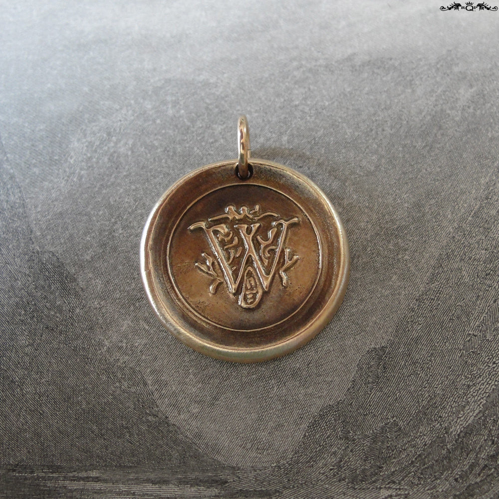 Wax Seal Charm Initial W - wax seal jewelry pendant alphabet charms Letter W - RQP Studio