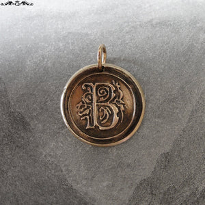 Wax Seal Charm Initial B - wax seal jewelry pendant alphabet charms Letter B - RQP Studio