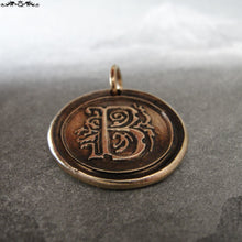Load image into Gallery viewer, Wax Seal Charm Initial B - wax seal jewelry pendant alphabet charms Letter B - RQP Studio
