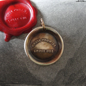 A Promise Is A Promise Wax Seal Charm - antique wax seal jewelry pendant French motto proverb - RQP Studio