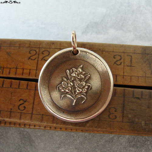 Lily Wax Seal Charm - antique wax seal jewelry with Lilies - Language of Flowers - Sweetness Purity - RQP Studio