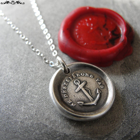Do Not Despair Wax Seal Necklace With Hope Anchor