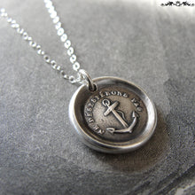 Load image into Gallery viewer, Wax Seal Necklace Do Not Despair - Hope anchor - antique wax seal charm jewelry - RQP Studio