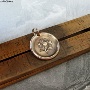 Apple Blossom Wax Seal Charm - antique wax seal jewelry Language of Flowers Temptation Preference - RQP Studio