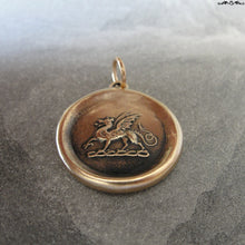 Load image into Gallery viewer, Dragon Wax Seal Pendant - antique wax seal jewelry Protection charm symbol Heraldic Dragon passant in bronze - RQP Studio