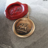Dragon Wax Seal Pendant - antique wax seal jewelry Protection charm symbol Heraldic Dragon passant in bronze