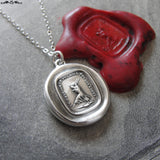 First Step Wax Seal Necklace - antique wax seal charm jewelry - First Step Is Always The Hardest motto in French