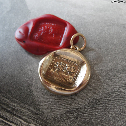Wax Seal Charm Trees Distant Love Motto - antique wax seal jewelry pendant motto Vain Destiny Separates Us