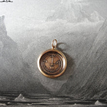 Load image into Gallery viewer, Anchor wax seal pendant Hope Supports antique wax seal jewelry - French motto and hearts - RQP Studio