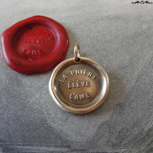 Prayer Uplifts The Soul Wax Seal Charm - antique wax seal charm jewelry French motto quote proverb pendant - RQP Studio