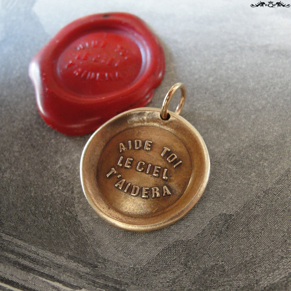 Heaven Helps Wax Seal Charm - antique wax seal charm jewelry - French motivational motto quote proverb pendant - RQP Studio