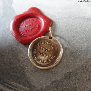 Forgive Others Wax Seal Charm - antique wax seal jewelry pendant - bible quote Forgive So That You May Be Forgiven - RQP Studio