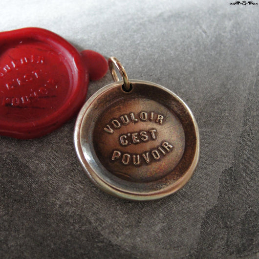 Where There's A Will There's A Way Wax Seal Charm - antique wax seal charm jewelry French proverb pendant by RQP Studio