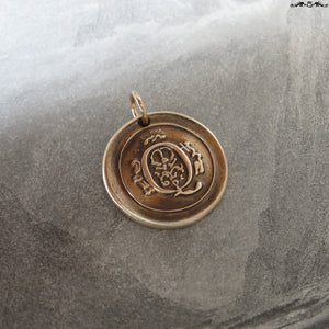 Wax Seal Charm Initial Q - wax seal jewelry pendant alphabet charms Letter Q - RQP Studio