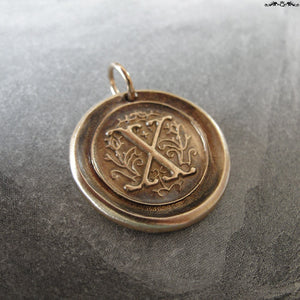 Wax Seal Charm Initial X - wax seal jewelry pendant alphabet charms Letter X - RQP Studio