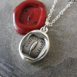 Always Sincere Wax Seal Necklace Feather Quill - antique wax seal charm jewelry Sincere At Heart