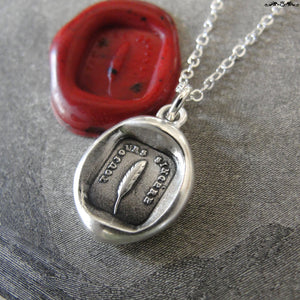 Always Sincere Wax Seal Necklace Feather Quill - antique wax seal charm jewelry Sincere At Heart - RQP Studio