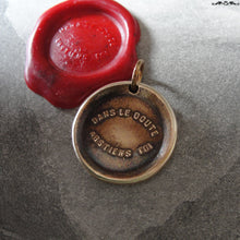 Load image into Gallery viewer, Bronze Wax Seal Pendant - When In Doubt Forbear - RQP Studio