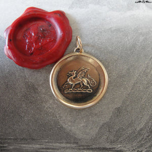 Dragon Wax Seal Pendant - antique wax seal jewelry Protection charm symbol Heraldic Dragon passant in bronze - RQP Studio