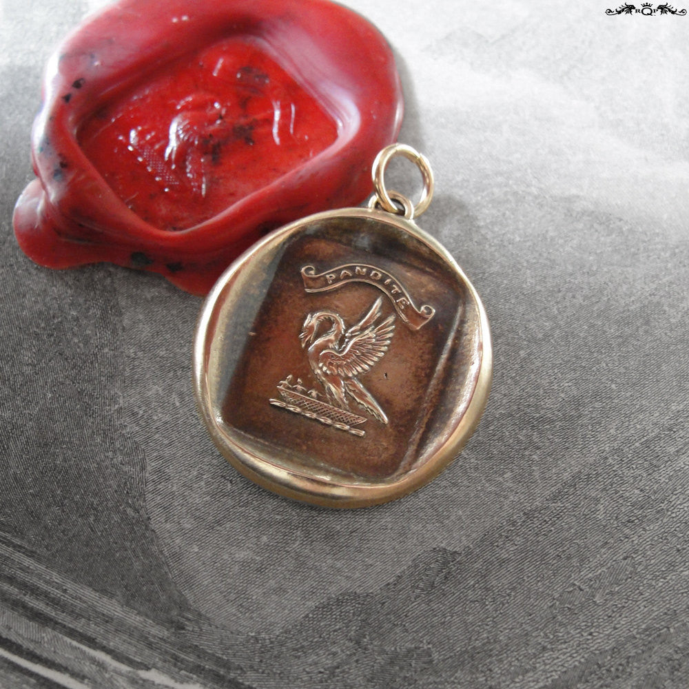 Pelican In Piety Wax Seal Pendant - antique wax seal jewelry charm Mother's Love Motherhood Latin motto - RQP Studio