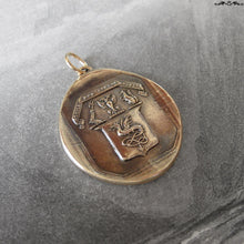 Load image into Gallery viewer, The Eagle Does Not Catch Flies Wax Seal Pendant - antique wax seal jewelry Wyvern Shield Latin motto - RQP Studio