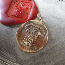 The Eagle Does Not Catch Flies Wax Seal Pendant - antique wax seal jewelry Wyvern Shield Latin motto