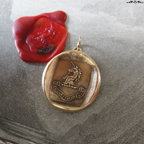 Unicorn Wax Seal Charm - Persevering Faithful - antique wax seal jewelry pendant Latin motto Steadfast - RQP Studio