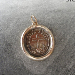 Wax Seal Pendant God's Grace Uplifts - antique wax seal jewelry charm Cross and Heart - Latin motto by RQP Studio