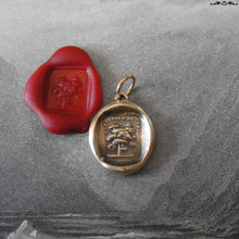 Load image into Gallery viewer, Tree Wax Seal Charm - Steadfast - antique wax seal jewelry pendant French motto - RQP Studio