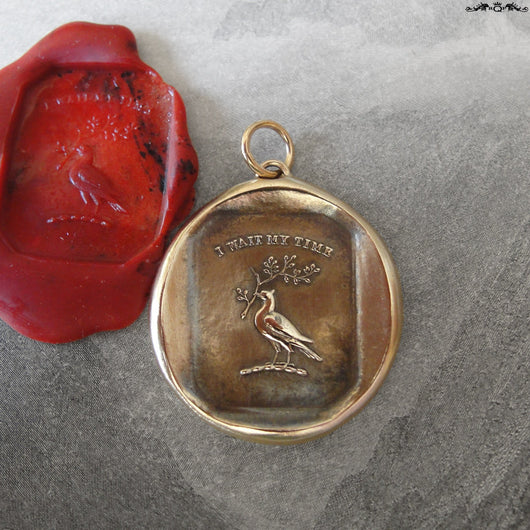 Patience Wax Seal Pendant with Peace Dove - antique wax seal charm jewelry charm Victorian motto I Wait My Time