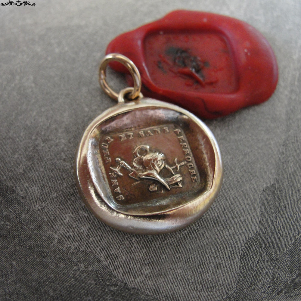Courage Wax Seal Pendant - antique wax seal charm Without Fear warrior French Strength motto wax seal jewelry - RQP Studio