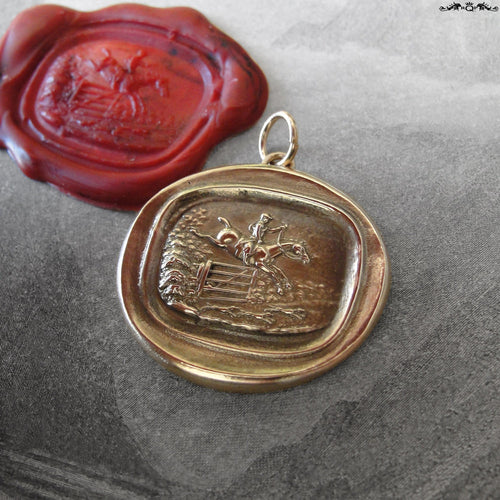 Horse Jumping Wax Seal Pendant - antique wax seal jewelry charm equestrian foxhunter riding - RQP Studio