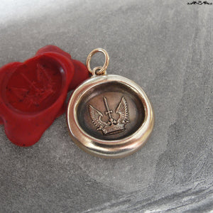 Wax Seal Charm Protected Strength Success - antique wax seal jewelry pendant winged crown sword - RQP Studio