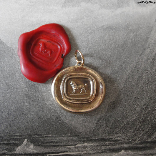Poodle Wax Seal Pendant - antique wax seal jewelry charm French Poodle Dog