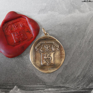 The Eagle Does Not Catch Flies Wax Seal Pendant - antique wax seal jewelry Wyvern Shield Latin motto - RQP Studio