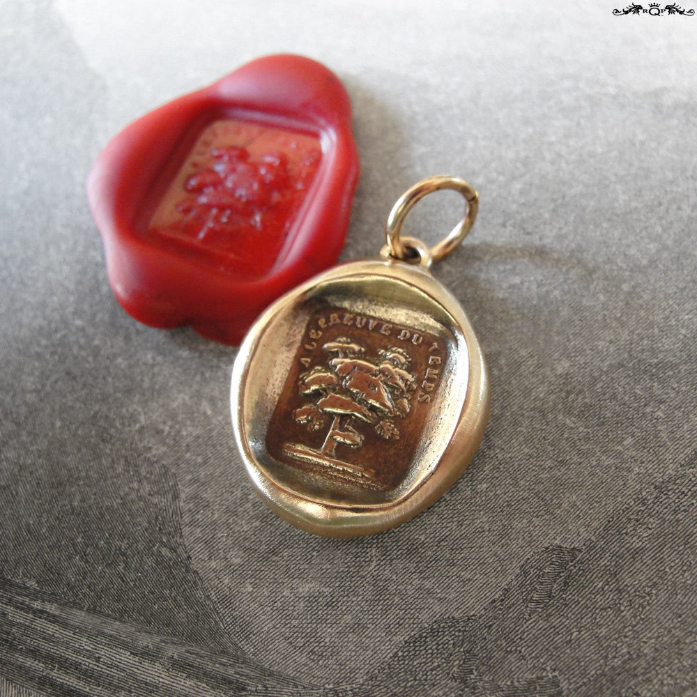 Tree Wax Seal Charm - Steadfast - antique wax seal jewelry pendant French motto - RQP Studio