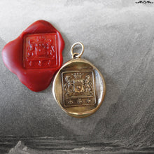 Load image into Gallery viewer, Wax Seal Pendant Brave Heart - antique wax seal jewelry Rampant Lion Courage Bravery - RQP Studio