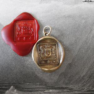 Wax Seal Pendant Brave Heart - antique wax seal jewelry Rampant Lion Courage Bravery - RQP Studio