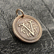 Load image into Gallery viewer, Wax Seal Charm Initial V - wax seal jewelry pendant alphabet charms Letter V - RQP Studio