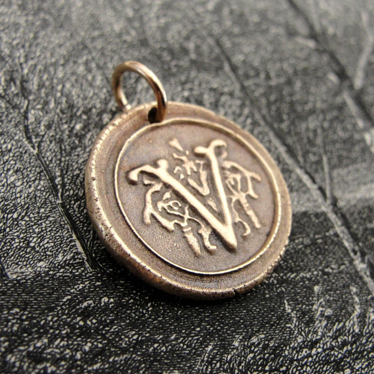 Wax Seal Charm Initial V - wax seal jewelry pendant alphabet charms Letter V - RQP Studio