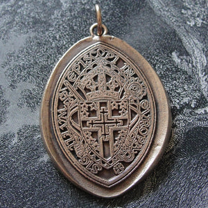 Spiritual Cross Wax Seal Pendant - Archbishop of Westminster England religious coat of arms in bronze - RQP Studio