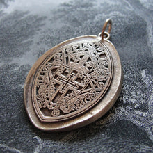 Load image into Gallery viewer, Spiritual Cross Wax Seal Pendant - Archbishop of Westminster England religious coat of arms in bronze - RQP Studio