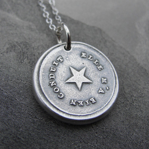 North Star Wax Seal Necklace Guiding Star antique wax seal jewelry My True North Polaris inspirational jewelry - RQP Studio