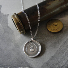 Load image into Gallery viewer, Wax Seal Necklace Encouragement - antique wax seal charm jewelry Inspirational French motto You Deserve It - Golden Apple - RQP Studio