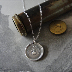 Wax Seal Necklace Encouragement - antique wax seal charm jewelry Inspirational French motto You Deserve It - Golden Apple - RQP Studio